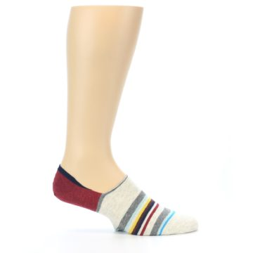 Image of Grey Red Stripe Men's Liner Socks (side-1-25)