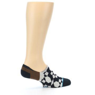 Image of Black Grey Brown Men's Liner Socks (side-1-23)