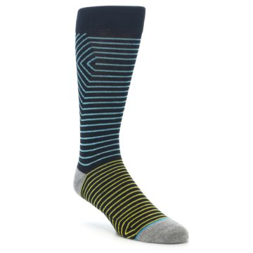 Image of Navy Blue Yellow Stripe Men's Casual Socks (side-1-front-01)