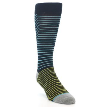 Image of Navy Blue Yellow Stripe Men's Casual Socks (side-1-front-02)