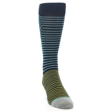 Image of Navy Blue Yellow Stripe Men's Casual Socks (side-1-front-03)