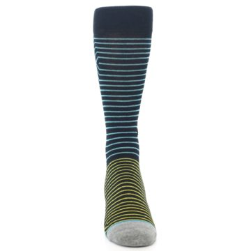 Image of Navy Blue Yellow Stripe Men's Casual Socks (front-04)