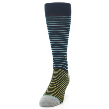 Image of Navy Blue Yellow Stripe Men's Casual Socks (side-2-front-06)