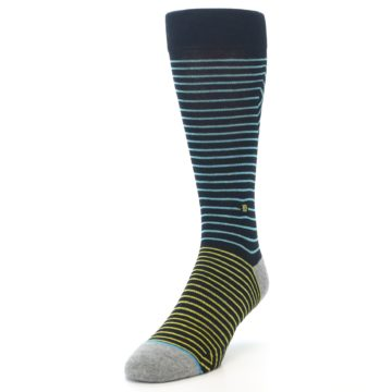 Image of Navy Blue Yellow Stripe Men's Casual Socks (side-2-front-07)