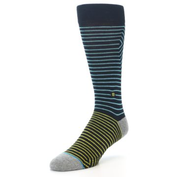 Image of Navy Blue Yellow Stripe Men's Casual Socks (side-2-front-08)