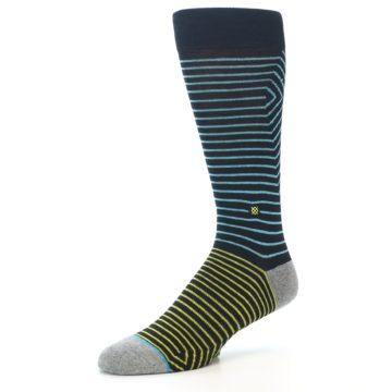 Image of Navy Blue Yellow Stripe Men's Casual Socks (side-2-09)