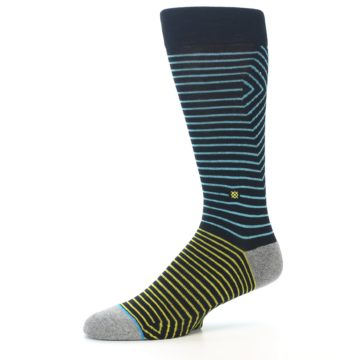 Image of Navy Blue Yellow Stripe Men's Casual Socks (side-2-10)