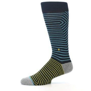 Image of Navy Blue Yellow Stripe Men's Casual Socks (side-2-11)