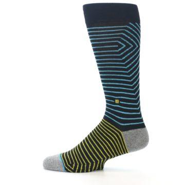 Image of Navy Blue Yellow Stripe Men's Casual Socks (side-2-12)