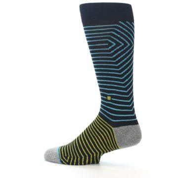 Image of Navy Blue Yellow Stripe Men's Casual Socks (side-2-13)