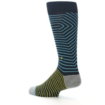 Image of Navy Blue Yellow Stripe Men's Casual Socks (side-2-back-14)