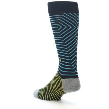 Image of Navy Blue Yellow Stripe Men's Casual Socks (side-2-back-15)