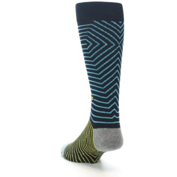 Image of Navy Blue Yellow Stripe Men's Casual Socks (side-2-back-16)
