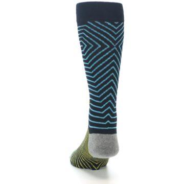 Image of Navy Blue Yellow Stripe Men's Casual Socks (back-17)