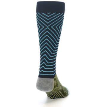 Image of Navy Blue Yellow Stripe Men's Casual Socks (side-1-back-20)