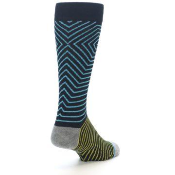 Image of Navy Blue Yellow Stripe Men's Casual Socks (side-1-back-21)