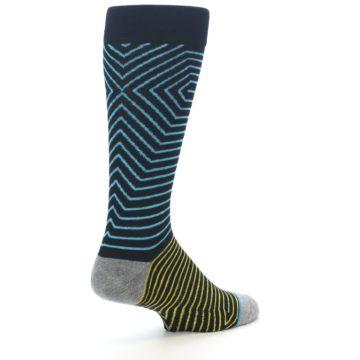 Image of Navy Blue Yellow Stripe Men's Casual Socks (side-1-back-22)