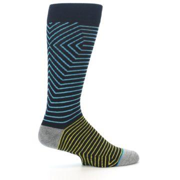 Image of Navy Blue Yellow Stripe Men's Casual Socks (side-1-24)