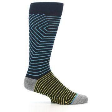 Image of Navy Blue Yellow Stripe Men's Casual Socks (side-1-25)