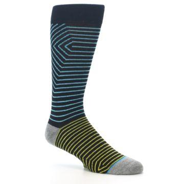 Image of Navy Blue Yellow Stripe Men's Casual Socks (side-1-26)
