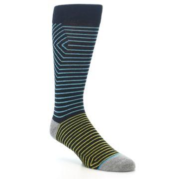 Image of Navy Blue Yellow Stripe Men's Casual Socks (side-1-27)