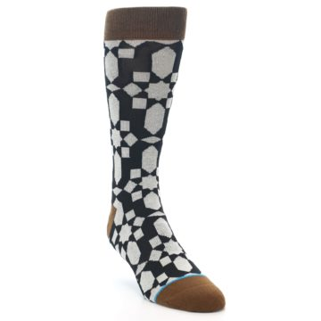 Image of Black Grey Geometric Men's Casual Socks (side-1-front-02)