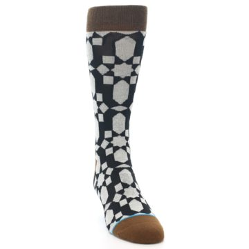 Image of Black Grey Geometric Men's Casual Socks (side-1-front-03)