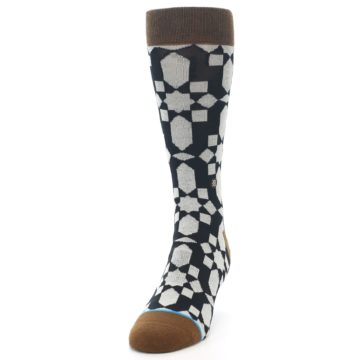 Image of Black Grey Geometric Men's Casual Socks (side-2-front-06)