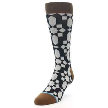 Image of Black Grey Geometric Men's Casual Socks (side-2-front-07)