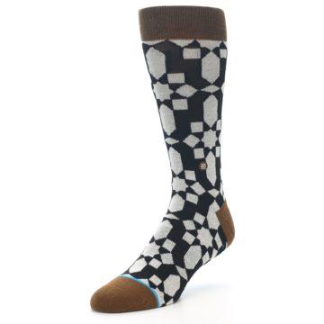 Image of Black Grey Geometric Men's Casual Socks (side-2-front-08)