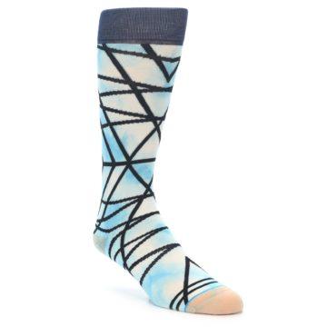 Image of Navy Blue Lazer Stripe Men's Casual Socks (side-1-front-01)