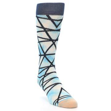 Image of Navy Blue Lazer Stripe Men's Casual Socks (side-1-front-02)
