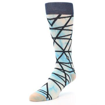 Image of Navy Blue Lazer Stripe Men's Casual Socks (side-2-front-08)