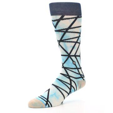 Image of Navy Blue Lazer Stripe Men's Casual Socks (side-2-09)