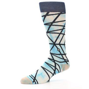 Image of Navy Blue Lazer Stripe Men's Casual Socks (side-2-10)