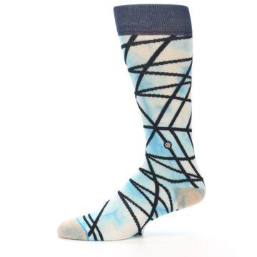 Image of Navy Blue Lazer Stripe Men's Casual Socks (side-2-11)