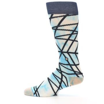 Image of Navy Blue Lazer Stripe Men's Casual Socks (side-2-12)