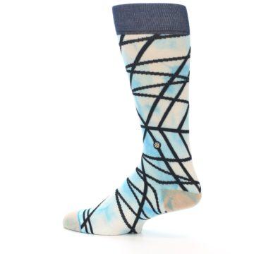Image of Navy Blue Lazer Stripe Men's Casual Socks (side-2-13)