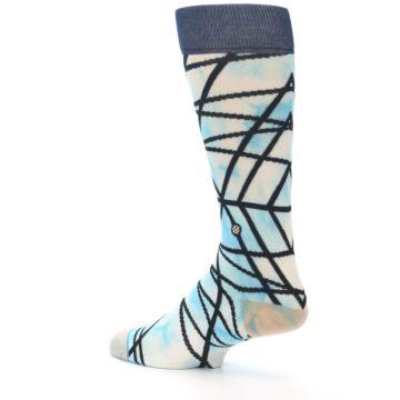 Image of Navy Blue Lazer Stripe Men's Casual Socks (side-2-back-14)