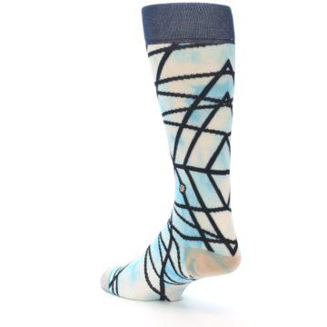 Image of Navy Blue Lazer Stripe Men's Casual Socks (side-2-back-15)
