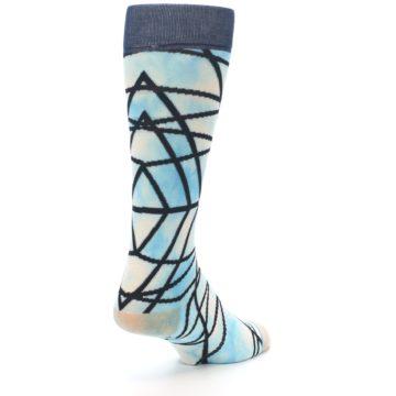 Image of Navy Blue Lazer Stripe Men's Casual Socks (side-1-back-21)