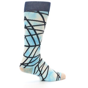 Image of Navy Blue Lazer Stripe Men's Casual Socks (side-1-23)