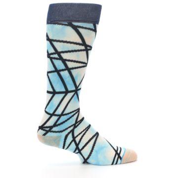 Image of Navy Blue Lazer Stripe Men's Casual Socks (side-1-24)