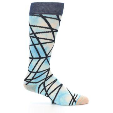 Image of Navy Blue Lazer Stripe Men's Casual Socks (side-1-25)
