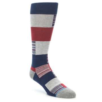 Image of Navy Red Grey Block Stripe Men's Casual Socks (side-1-front-01)