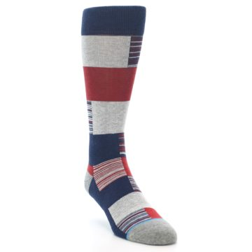 Image of Navy Red Grey Block Stripe Men's Casual Socks (side-1-front-02)