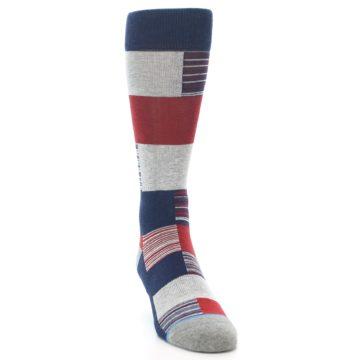Image of Navy Red Grey Block Stripe Men's Casual Socks (side-1-front-03)