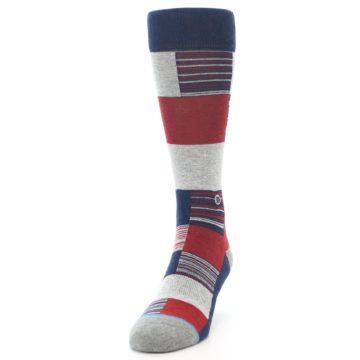 Image of Navy Red Grey Block Stripe Men's Casual Socks (side-2-front-06)