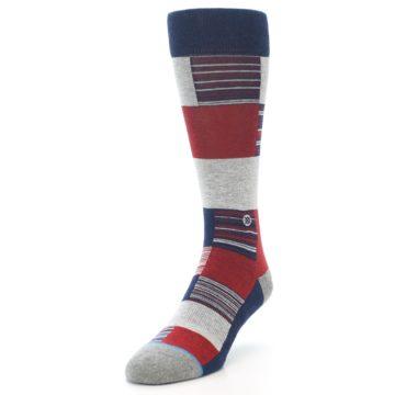 Image of Navy Red Grey Block Stripe Men's Casual Socks (side-2-front-07)