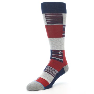 Image of Navy Red Grey Block Stripe Men's Casual Socks (side-2-front-08)